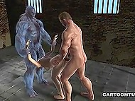 Shaggy X-man and his muscular ally fuck petite brunette from both ends in cartoon for adults