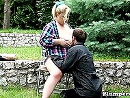 Fat blonde lets boyfriend play with massive boobs and puts butt on his pleased face outdoors 5