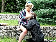 Fat blonde lets boyfriend play with massive boobs and puts butt on his pleased face outdoors 6