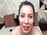 Romanian webcam girl enjoys watching internet viewer jerking cock off admiring her naked body 8