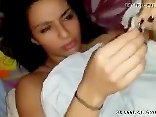 Cute Arab babe sucks dick a little bit, puts condom on it, and exposes pussy for fucking
