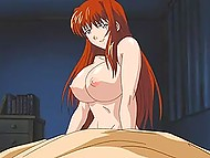 Main character of Japanese cartoon for adults gets lucky to fuck big-tittied stepmother with red hair 5