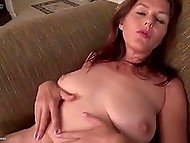 Mature woman with red hair bought new adult toy to play with her unshaven pussy 6