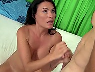 Sexy MILF washes car and gardener invites her on couch to give him handjob 11