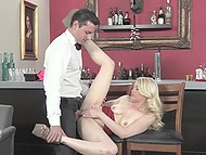 Divine blonde gets horny when dick touches her lips and sperm flows down the tongue 4