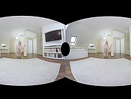 Enchanting blonde comes to bedroom where strong guy is waiting for sex in free VR porn video 7