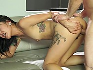 Tattooed Asian with tiny boobies had great fuck and tasted hot sperm in pleasant environment 10