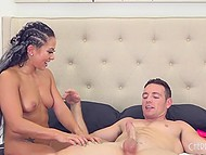 Sexy girl Morgan Lee loves to add some whipped cream and chocolate syrup while sucking guy's dick 11