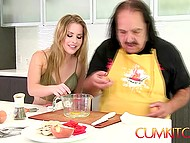 Old guy while preparing omelet has time to penetrate his lovely partner on kitchen 5