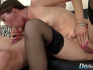 Buddy prepares his slutty wife for gangbang by fucking her wet pussy on couch 5