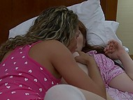 Curly-haired beauty eagerly shares sexual experience with her innocent stepsister 4