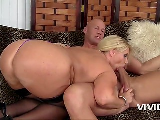 It isn't a big problem for big-boobied blonde to take clothes off and suck bald guy's dick