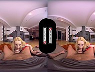 Superwoman comes to safe lucky guy and check his boner during fuck in VR porn video 5