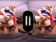 Superwoman comes to safe lucky guy and check his boner during fuck in VR porn video 7