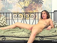 Delightful chick with curly hair carefully made shaved pussy ready for upcoming sex 8