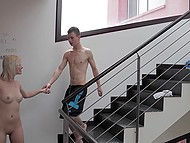Cute blonde got acquainted with new neighbor at jogging and invited him at her home for some anal 5