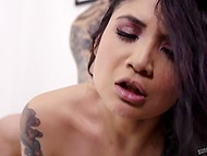 Tattooed guy fucks Asian girlfriend in doggystyle before exploding with cum on her body 8