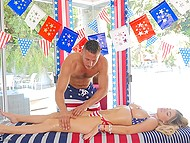 American patriots pay their respects to home country having rough sex on national flag 4