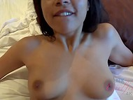 Good-looking Latina gave blowjob to boyfriend and took part in hot sex in POV video 5