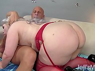 BBW shakes pretty body folds while bald man is impaling her opening with his great cock 4
