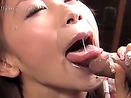 Fragile Japanese chick was extremely excited and presented blowjob to her mature stepfather 9
