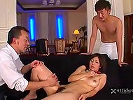 Japanese housemaid services boss and his friend with dinner but they go greedy about her pussy