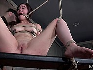 Tied beauty gets nicely tantalized in different ways by severe warden of dungeon 10