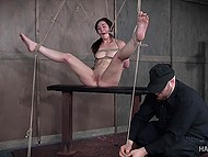 Tied beauty gets nicely tantalized in different ways by severe warden of dungeon 11