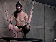 Tied beauty gets nicely tantalized in different ways by severe warden of dungeon 4