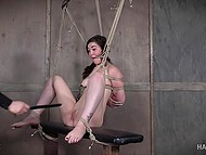 Tied beauty gets nicely tantalized in different ways by severe warden of dungeon 7