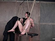 Tied beauty gets nicely tantalized in different ways by severe warden of dungeon 9