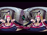 Insidious girl dressed like pirate has fun with obedient babe in front of VR headset 11