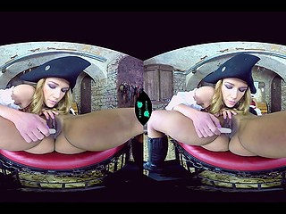 Insidious girl dressed like pirate has fun with obedient babe in front of VR headset