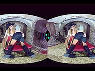 Insidious girl dressed like pirate has fun with obedient babe in front of VR headset 4