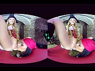 Insidious girl dressed like pirate has fun with obedient babe in front of VR headset 5