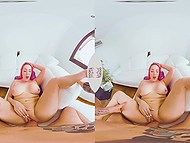 Buxom MILF with pink hair enjoys cock in VR scene and tries to squeeze cum over pussy 7