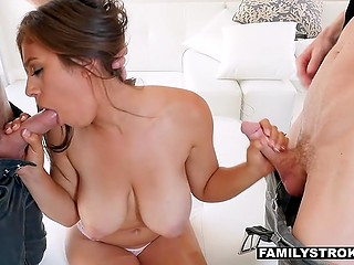 Latina Ella Knox exposed great tits then gladly served stepbrother and stepfather's penises