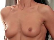 Mood of sweet thing with dark hair is always higher than sky when boyfriend fucks shaved vagina 8