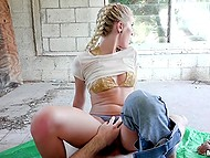 Sexy chick with pigtails thought too much but still agreed to fuck in abandoned house 10