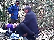 Friend watches if somebody is around while old pervert fucks mature Chinese woman in the woods 4
