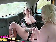 Cold weather in London provokes taxi driver and blonde passenger to warm pussies to squirt 9