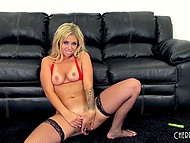 Blonde whore plays with pussy at casting and producer comes to drill her hard 11