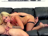 Blonde whore plays with pussy at casting and producer comes to drill her hard 4