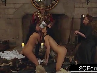 Lord of Seven Kingdoms gives cock to two voluptuous brunettes to suck to teach his future queen a lesson