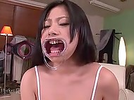 Dominant stretches Japanese babe's mouth with device to cum there but his homie likes casual fucking 4