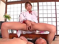 Japanese housewife in traditional suit cleaned house and got fucked by three partners 5
