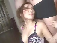 Vigorous Japanese woman dances in front of some submissive guys, who make her pussy squirts 3