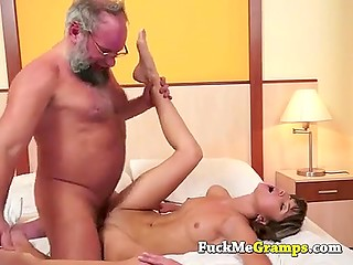 Gray-bearded man couldn't believe his luck until facialized petite Russian babe Gina Gerson
