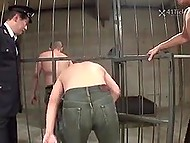 Guard forces Japanese prisoner to suck his cock and leaves her in cell with three criminals 5