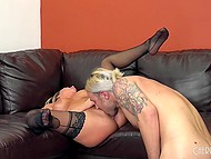 Busty blonde enjoys first casting and she is so excited that swallows all sperm 5